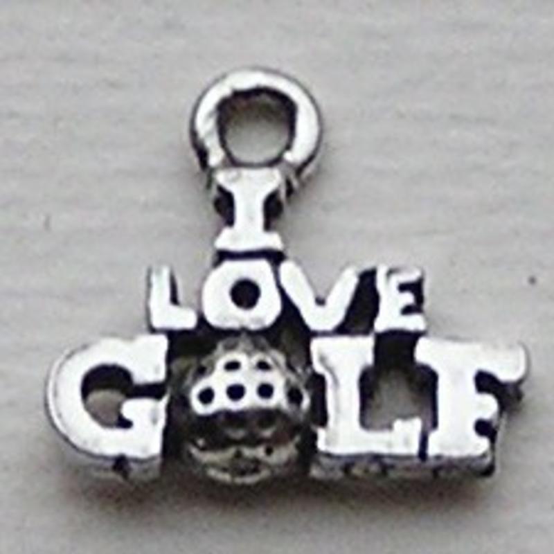 Bedel I love Golf. 14mm. Verzilverd met harde beschermlaag. (ook in grootverpakking).