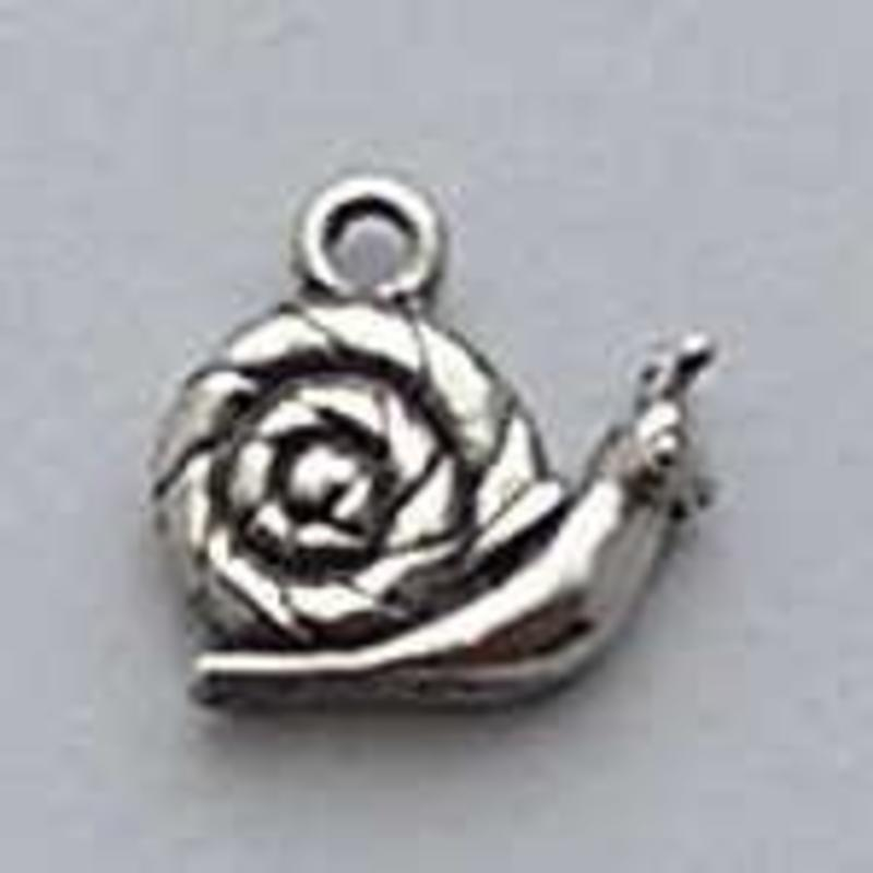 Charm Snail with House. 15mm. Silver plated with hard protective layer.