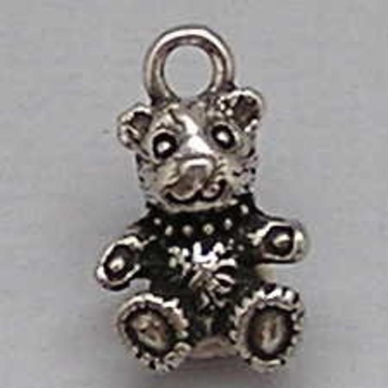 Bedel Teddybeer. 14mm. Verzilverd met harde beschermlaag. (ook in grootverpakking).