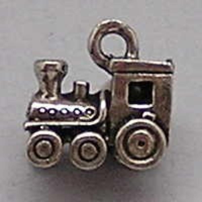Bedel Locomotief. 12x14mm. Oudzilverkleurig.