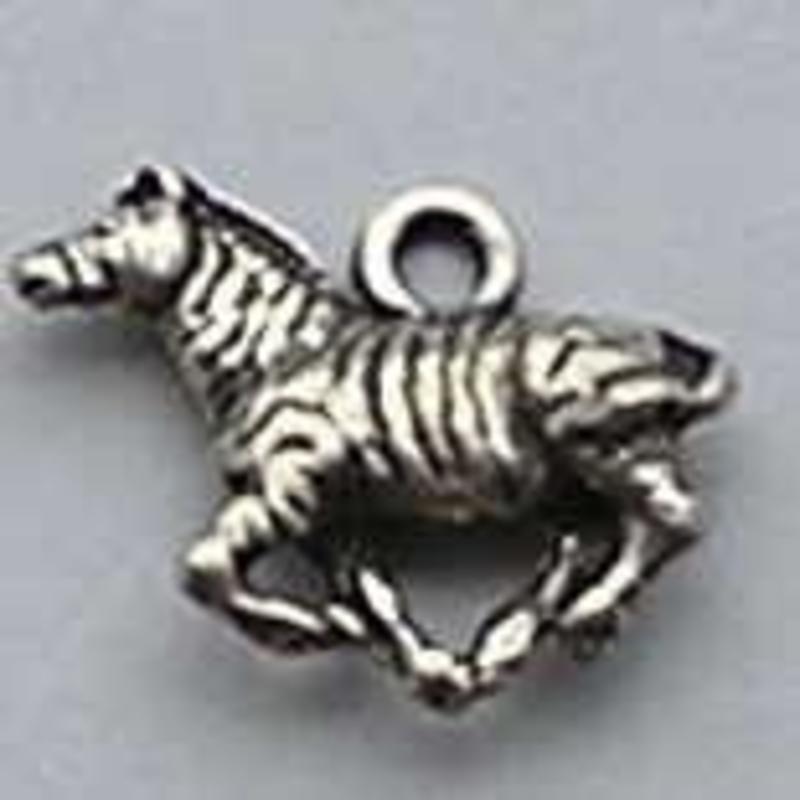 Bedel Zebra. 15x20mm. Verzilverd met harde beschermlaag. (ook in grootverpakking).