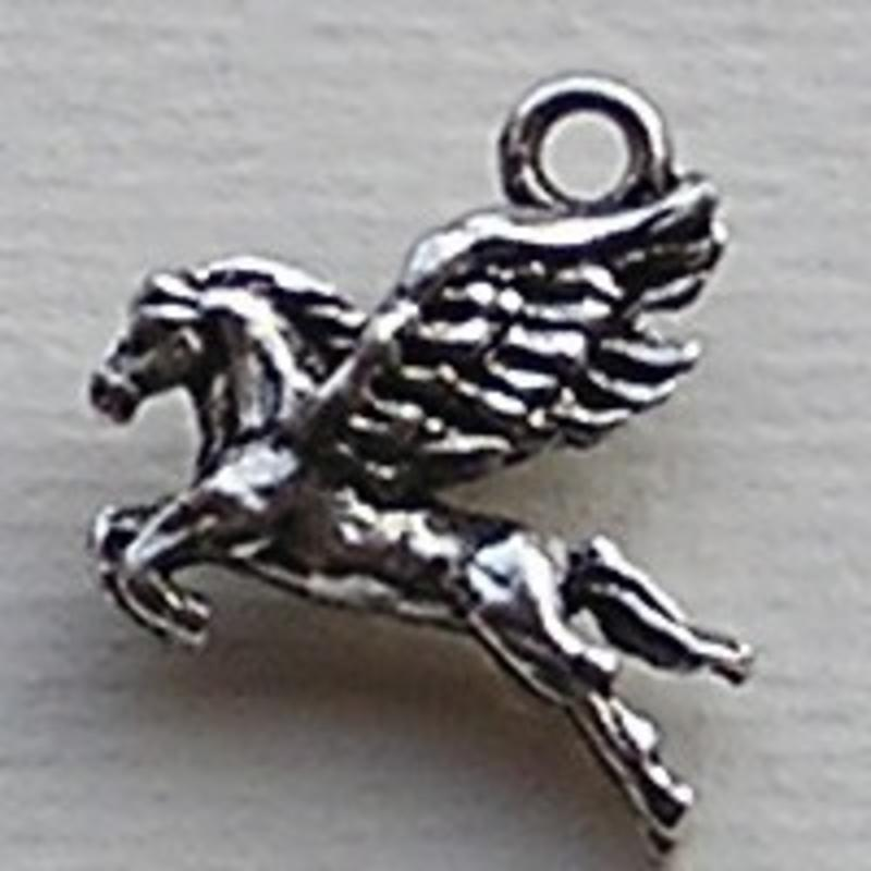 Bedel Pegasus. 17mm. Verzilverd met harde beschermlaag. (ook in grootverpakking).