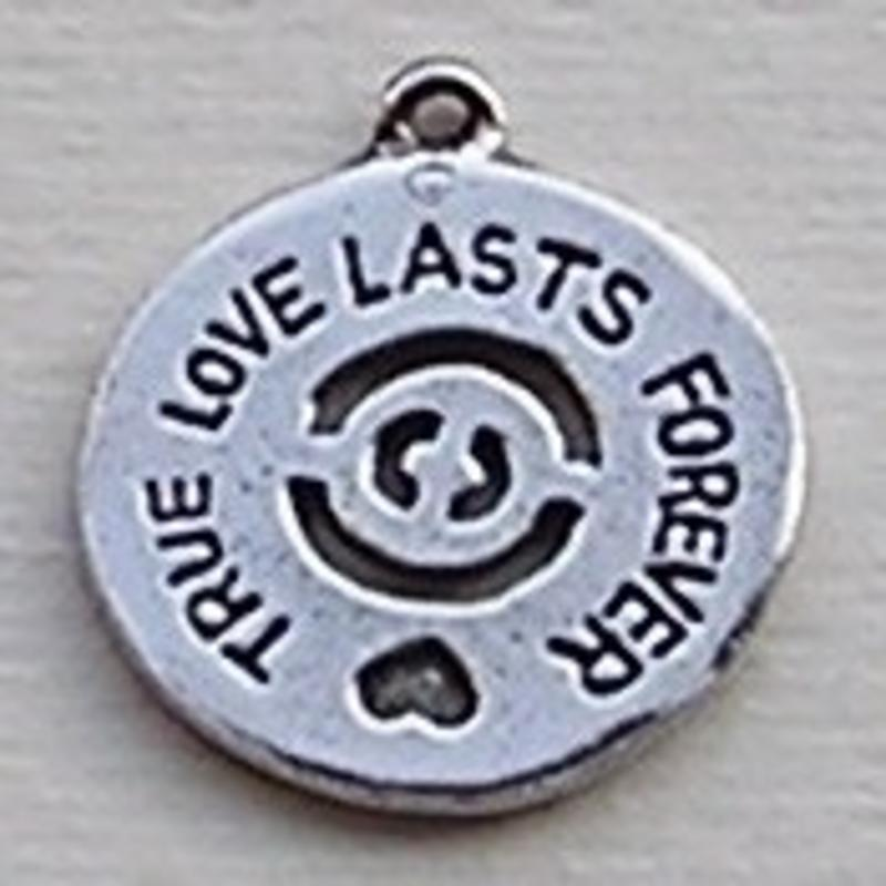 Bedel Munt. True Love lasts Forever. 20mm. Verzilverd met harde beschermlaa(ook in grootverpakking).