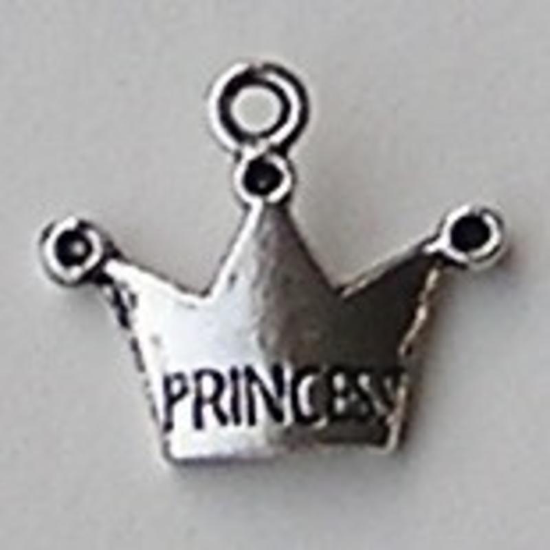 Bedel Kroon. Tekst Prinses. 17x19mm. Oudzilverkleurig.