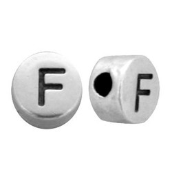 Letterkraal. F. 7mm Zilverkleurig.