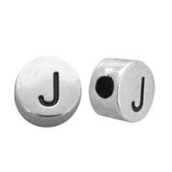 Letterkraal. J. 7mm Zilverkleurig.