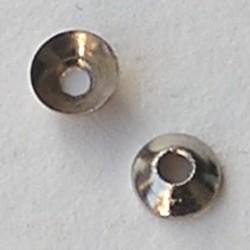 Kraalkapje Oudzilverkleurig. 5mm. Brass. Groot gat.