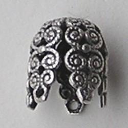 Filligrain Kraalkap  10x12mm. Mat zilverkleurig. Hoogwaardige. kwaliteit. Brass.