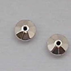 Kraaltje Facet Rondel. 4mm. Zilverkleurig Metallook