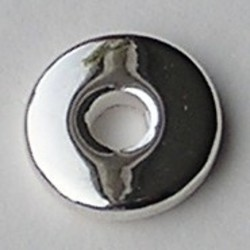 Metallook Platte Schijfkraal. 15mm. Silverplated.