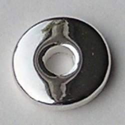 Metallook Platte Schijfkraal. 15mm. Silverplated.