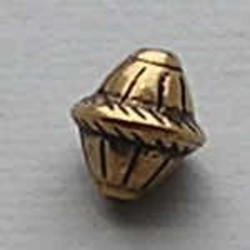 Bewerkte Kraal. 10 mm. Bicone. Oud Goudkleurig. (Metal Look)