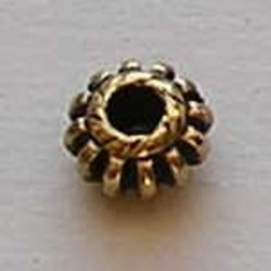 Spider. 4x8mm. Oud Goud. (metallook)