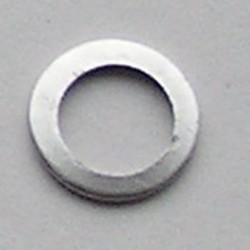Oud Matzilverkleurig Brass. Platte ring. 13mm.