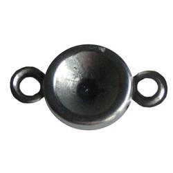 Tussenzetsel met 2 ogen voor Swarovski SS29 steen. Zilverkleurig.