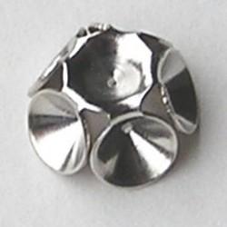 Opplak Zetting 10 mm. Brass voor 6x4mm Simili Swarovskistenen. Zilverkleurig Hoogwaardige kwaliteit