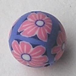 Fimoklei-Kraal. 10mm. Lila met Roze Bloemetjes. Rond.