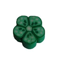 Fimo Kraal. 10mm. Groen Bloemetje.
