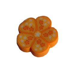 Fimo Kraal. ca 13mm. Oranje Bloemetje.