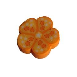 Fimo Kraal. ca 20mm. Oranje Bloemetje.