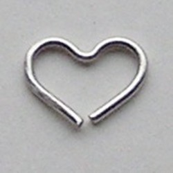 Matzilverkleurig Brass Wire Heart 10x19mm dikte 1mm.
