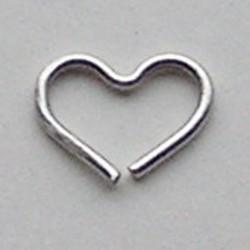 Matzilverkleurig Brass Wire Heart 10x19mm dikte 1mm.