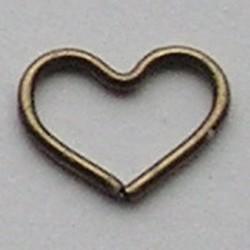 Bronskleurig Brass Wire Heart 10x19mm dikte 1mm.