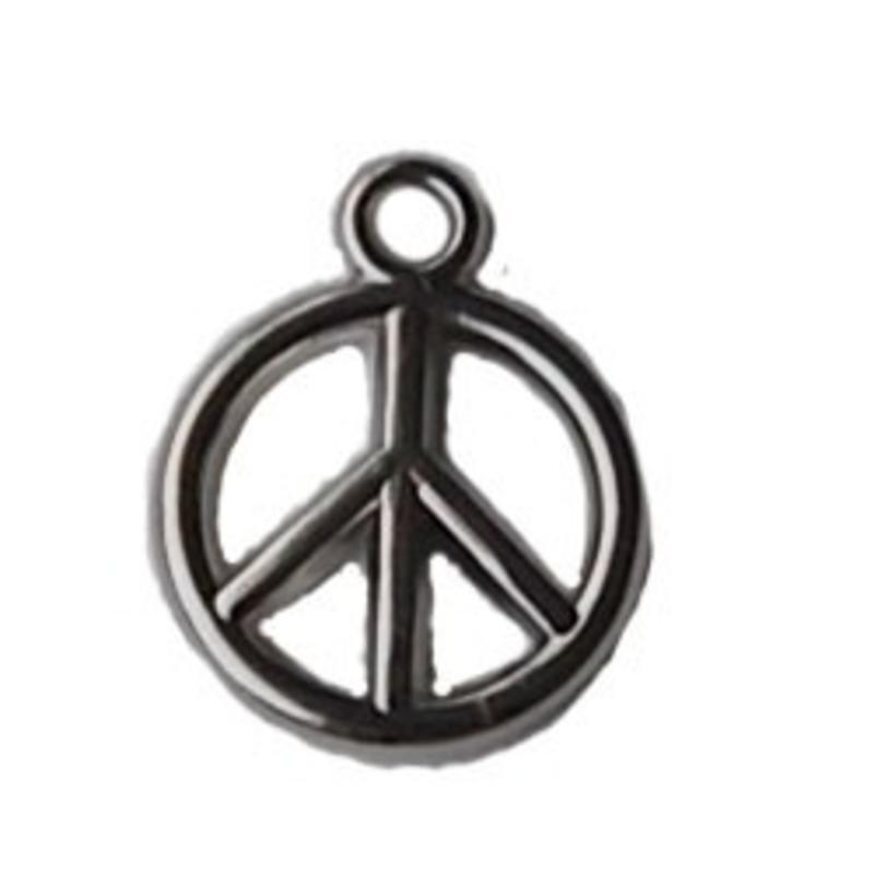 Bedeltje Peace. 15mm. Zilverkleurig. Metallook