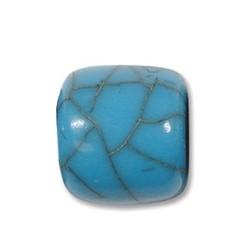 Resin Kraal. Turquoise. 18x18mm Tonvormig.