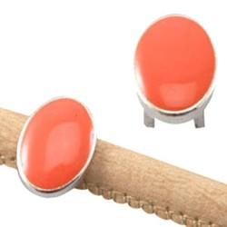 Schuiver ovaal 10x14mm Zilverkleurig met Coral enamel