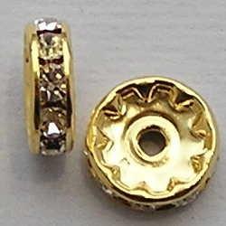 Gouden Rondel. 10mm. Crystal.