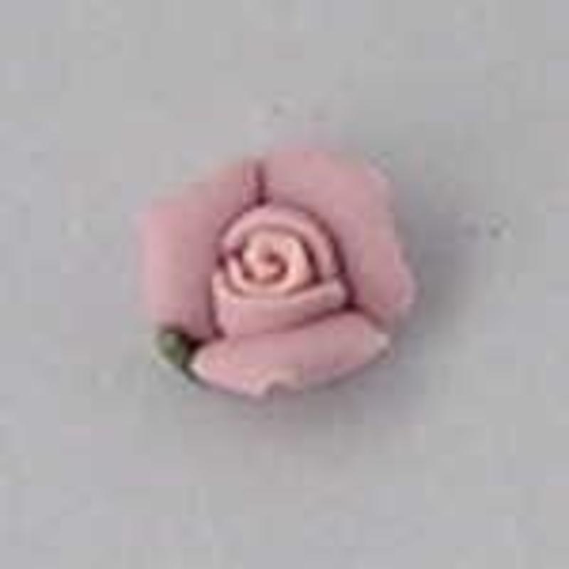 Porseleinen Roosje. 6mm. Licht Roze.