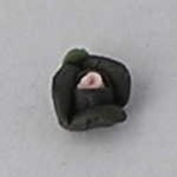 Porseleinen Roosje. 6mm. Zwart. Per stuk