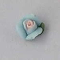 Porseleinen Roosje. 6mm. Aqua. Per stuk
