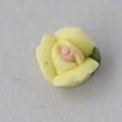 Porseleinen Roosje. 6mm. Geel. Per stuk