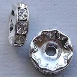 Zilverkleurige Rondelle. 10mm. Crystal.