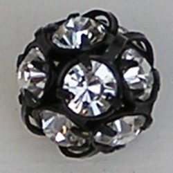 Strassbal 12mm. Zwart met Crystal strass.