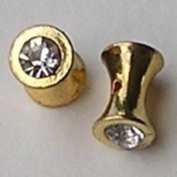 Diabolo Goudkleurig. 10mm. Met crystal strass.