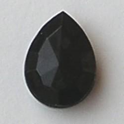 Glazen Steen Druppel 13x18mm. Zwart. (voor kastje 27505.01 en 27505.02.)