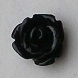 Kunststof roosje met platte onderkant. Zwart. 10mm. Leuk als cabochon te gebruiken.