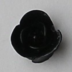 Kunststof roosje met platte onderkant. Zwart. 19mm. Leuk als cabochon te gebruiken.