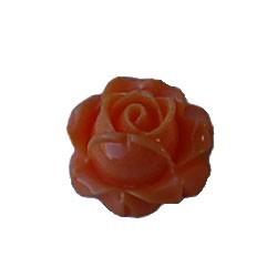 Kunststof bloemetje Roos met platte onderkant. Salmon. 8x15mm. Cabochon. Per stuk voor.