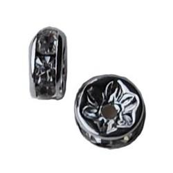 Zilverkleurige Rondelle. 6mm. Crystal.