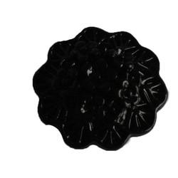 Kunststof bloemetje met platte onderkant. Zwart. 20mm. Cabochon