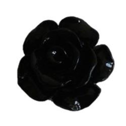Roosje kunststof met platte onderkant. 13mm. Zwart.