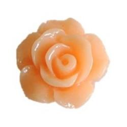 Roosje kunststof met platte onderkant. 13mm. Peach.