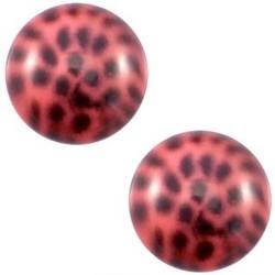 Polaris Cabochon. Rond. 20mm. Leopard Padparadsha roze.