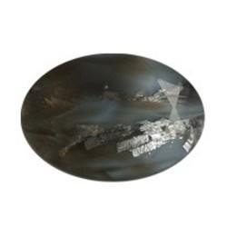 Glazen Steen 13x18mm. Ovaal.Grey. (voor kastje 27504.03)
