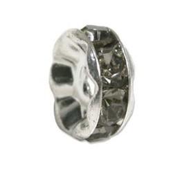 Strass-Rondel. 8mm.  Black Diamond. Zilverkleurig