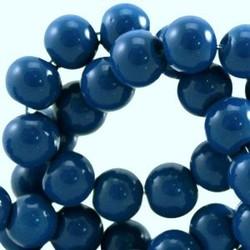 Glaskraal. 4mm. Rond. Blue. Opaque. 100 stuks voor.